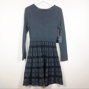 Cynthia Rowley Gray Black Sweater Dress M NWT